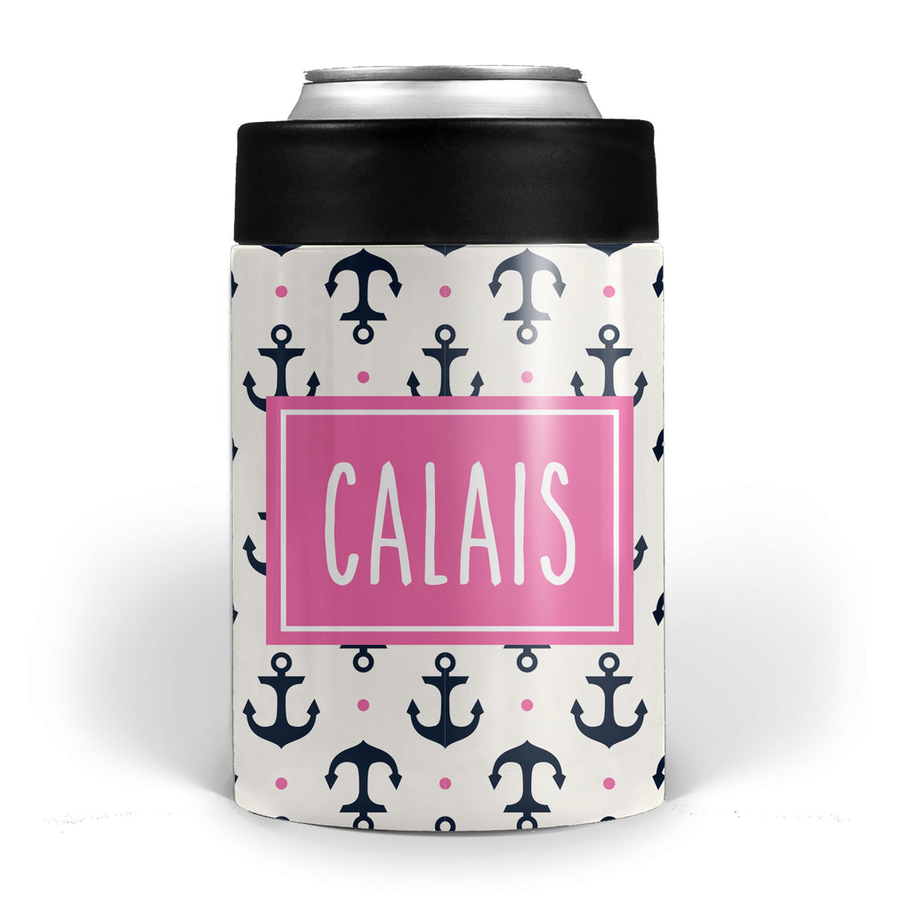 Anchor with navy and hot pink Stainless Steel Can Cooler