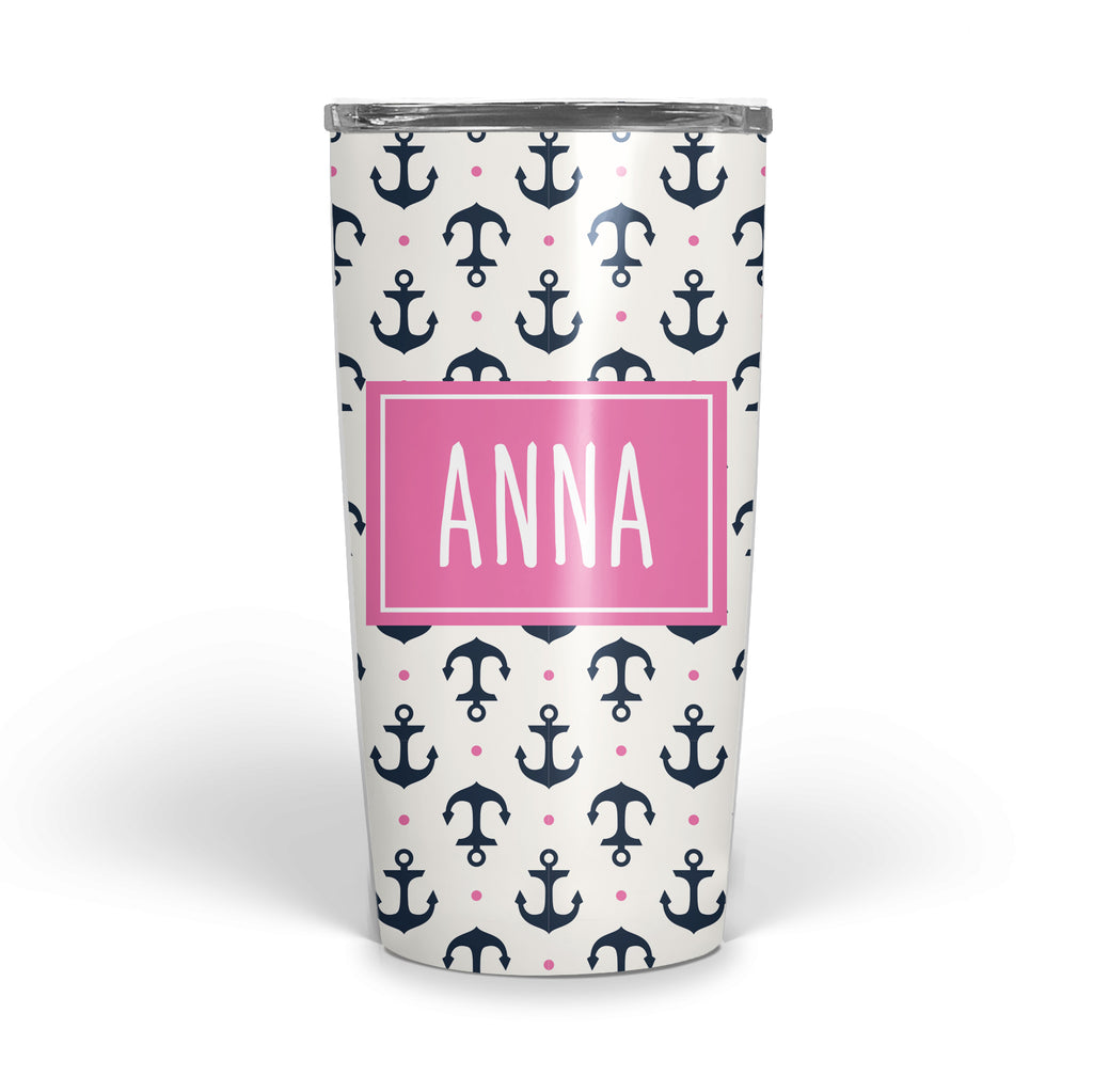 Anchor with navy and hot pink Double Walled Stainless Tumbler (tall)