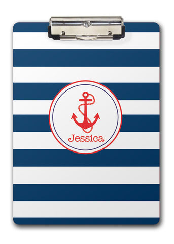 Anchor on navy stripe background with name two sided clipboard