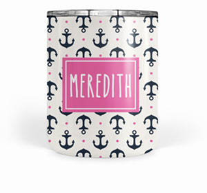 Anchor with Navy and Hot Pink Double Walled Stainless Tumbler (short)