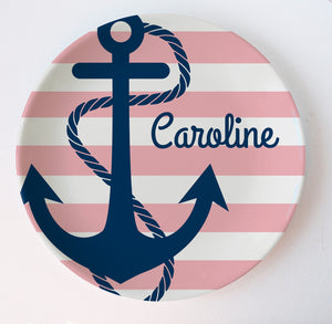 Nautical theme with navy anchor and pink stripes- personalized