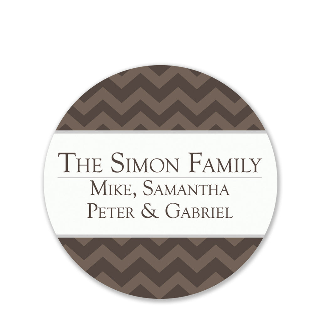 Antique Chevron Gift Sticker | Swanky Press | Round