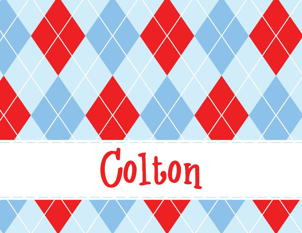 Argyle, boy, red, blue