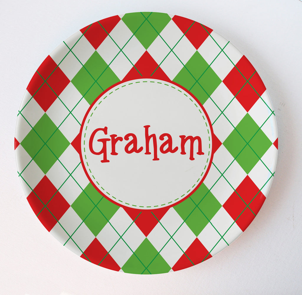 argyle christmas melamine plate in red and green