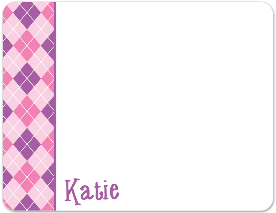 pink and purple argyle flat notecards
