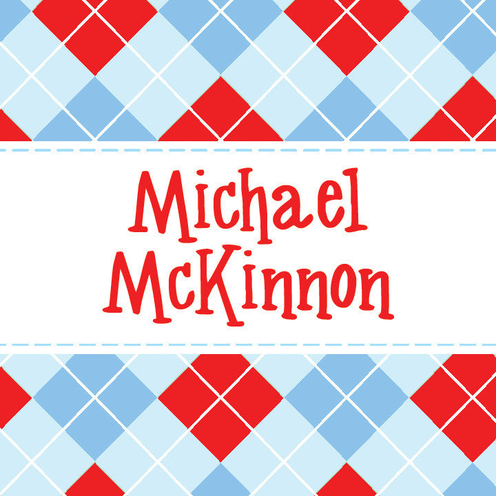 Red and blue argyle gift tags