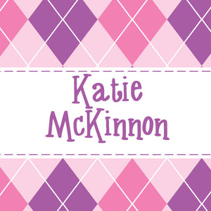 Pink and purple argyle gift tags