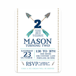 Blue Arrows and Feathers Party Birthday Invitation | Swanky Press | Front
