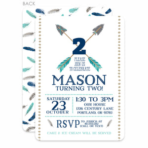 Arrows and Feathers Party Birthday Invitation | Swanky Press | Blue