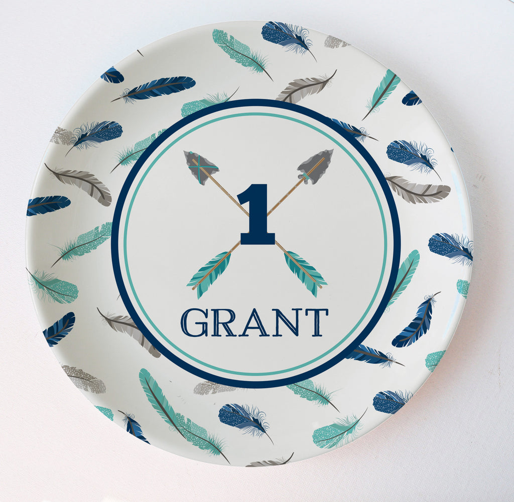 Arrows and feathers personalized melamine plate