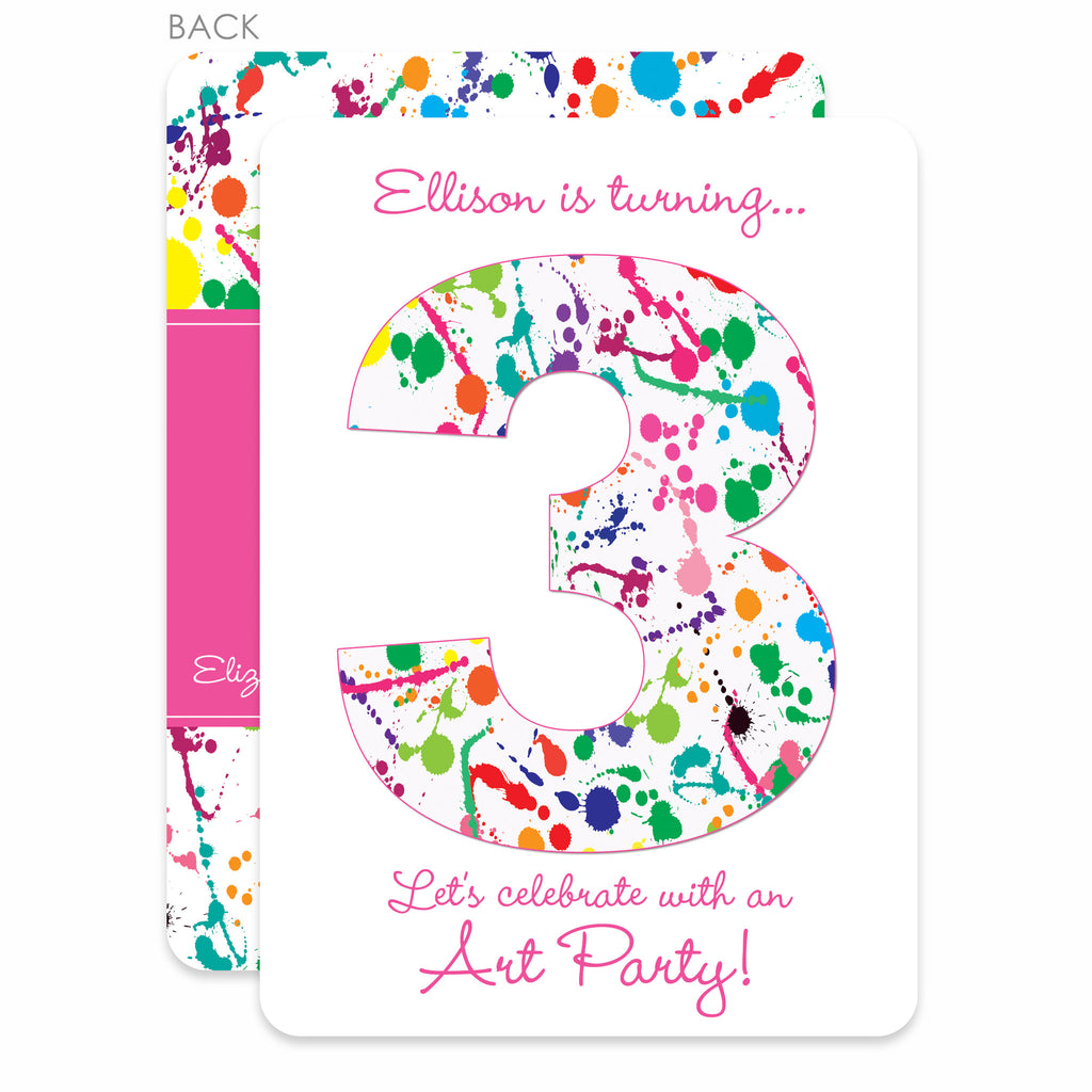Art paint splatter birthday invitation pink printed pipsy art party paint splatter invitation swanky press stopboris