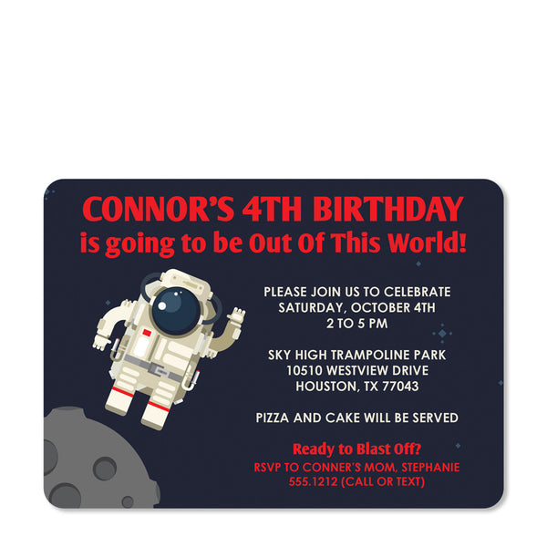 Astronaut Birthday Invitation (Blue) | Swanky Press (front view)