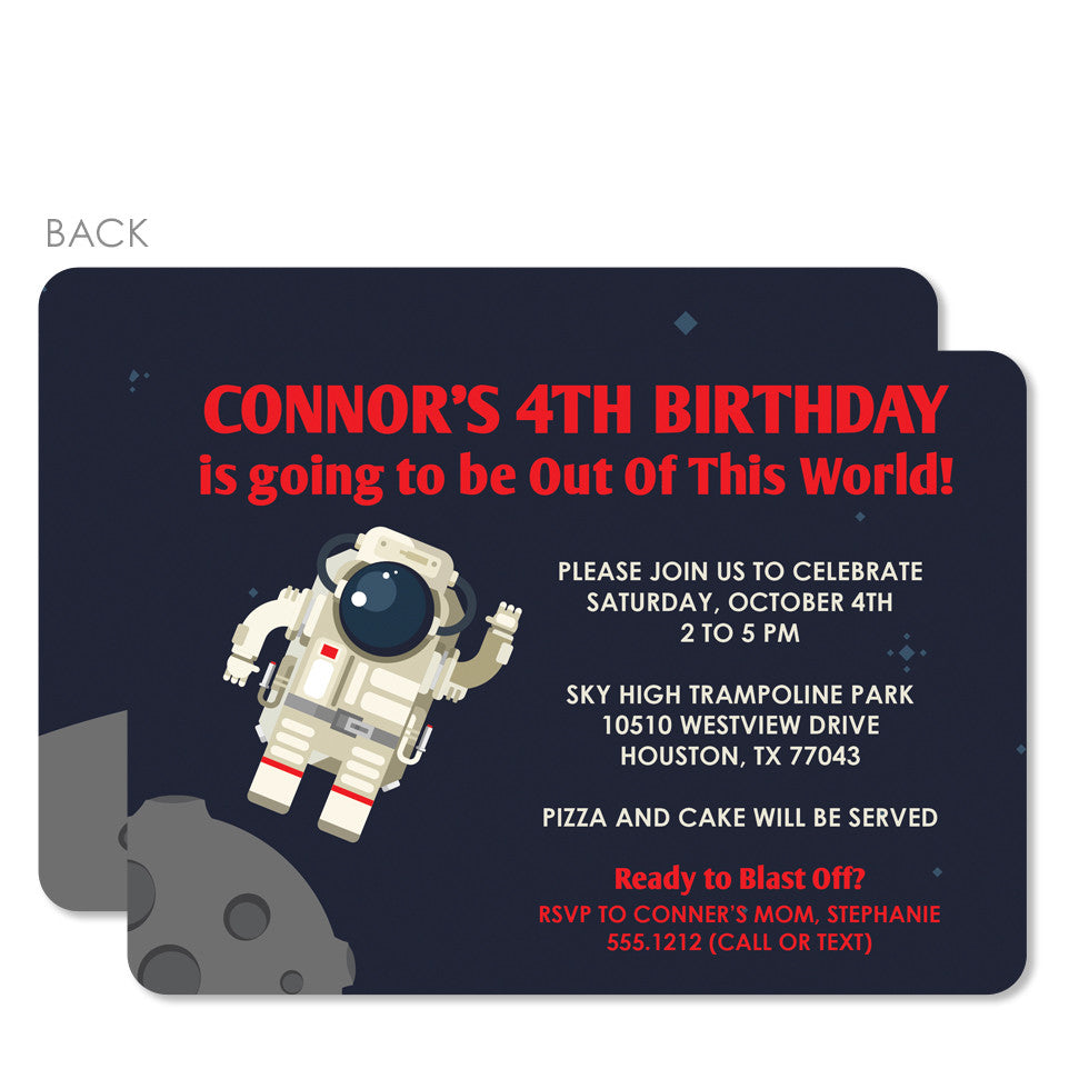 Astronaut Birthday Invitation (Blue) | Swanky Press