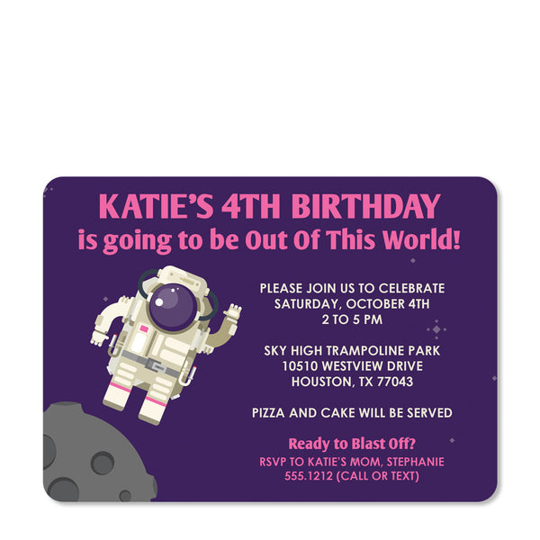 Astronaut Birthday Invitation (Purple) | Swanky Press (front view)