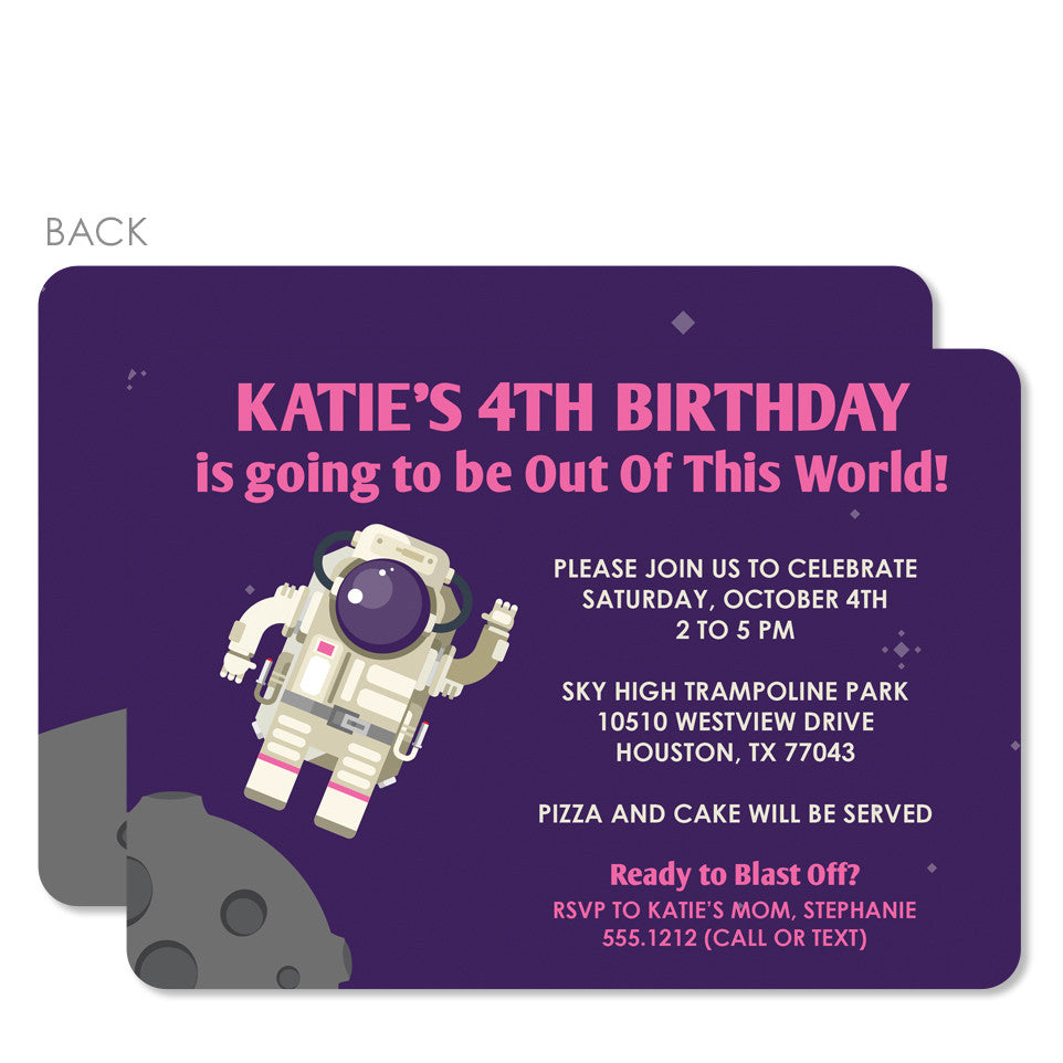 Astronaut In Space Party Invitation Purple Printed Pipsy