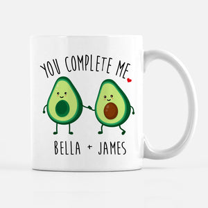Avocado Mug, You Complete Me, Personalized with Couple's Names, Perfect for Valentines Day, Engagement gift, or anniversary, PIPSY.COM