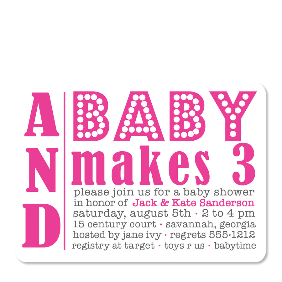 Baby Makes Three Shower Invitation, Pink (Printed)