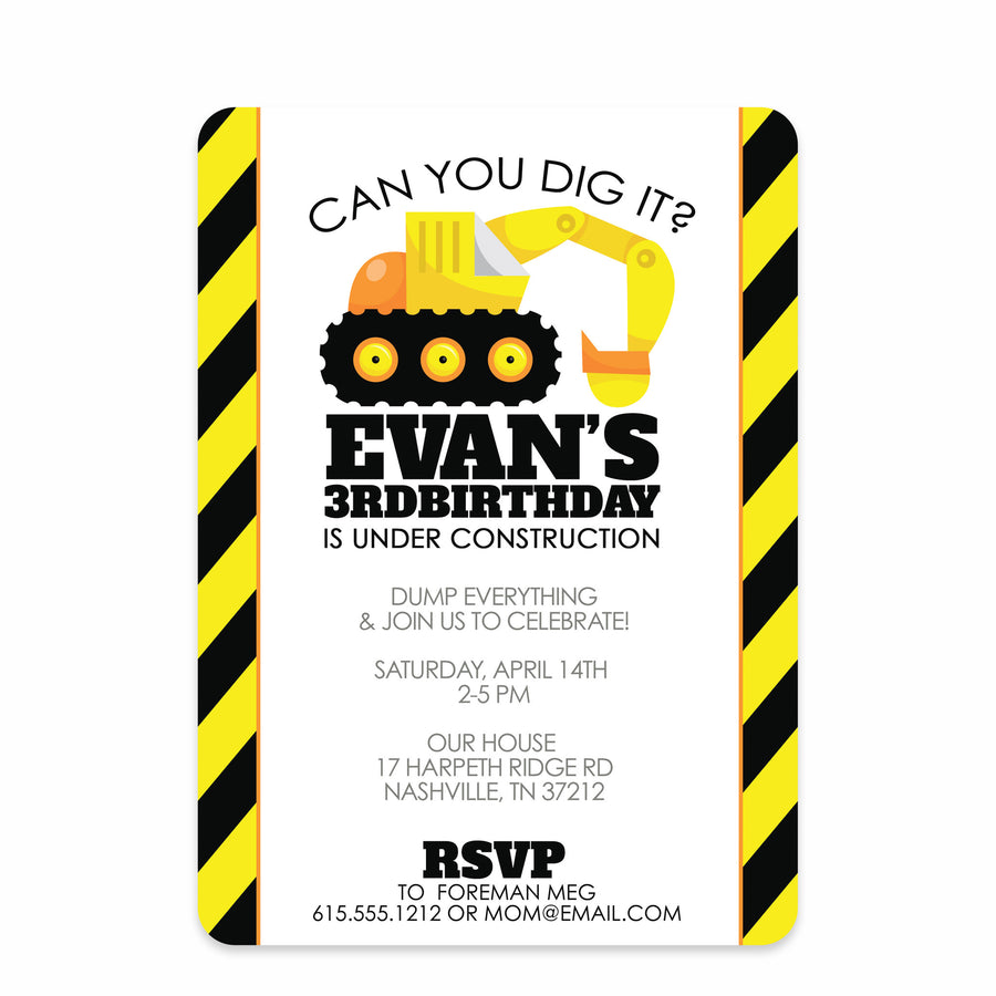 Backhoe Digger Party Birthday Invitation | PIPSY.COM | Black & Yellow