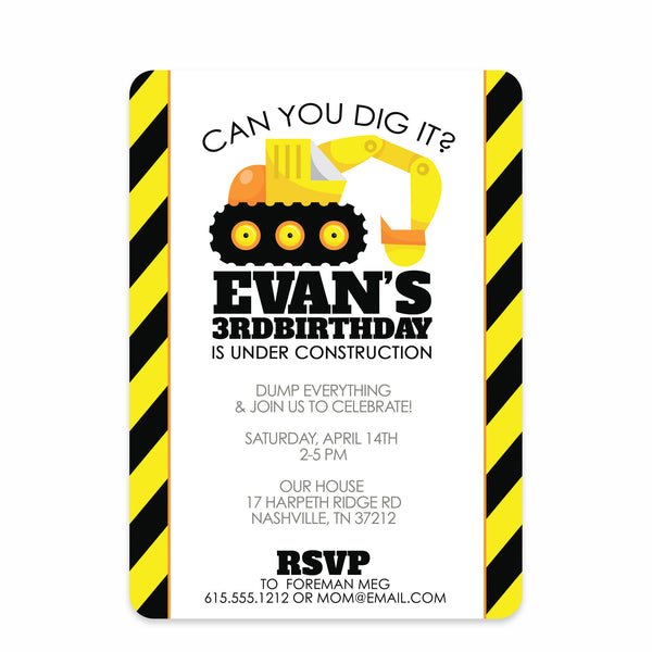 Backhoe Digger Party Birthday Invitation | Swanky Press | Front