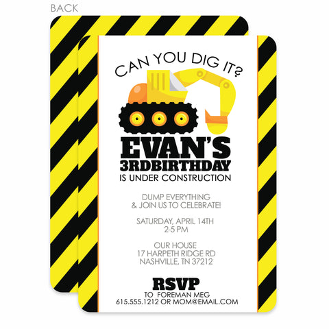 Backhoe Digger Party Birthday Invitation | Swanky Press | Black & Yellow