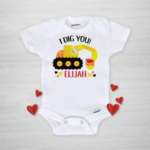"Valentine's Day Personalized Gerber Onesie, backhoe excavator ""I dig you"" personalized, short sleeve"