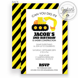 Backhoe Birthday Party Invitation | Excavator | Construction Party | DIY Instant Download | Templett Invitation | PIPSY.COM
