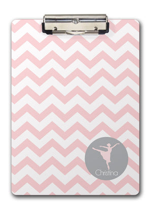 ballerina silhouette in grey on pink chevron two sided clipboard