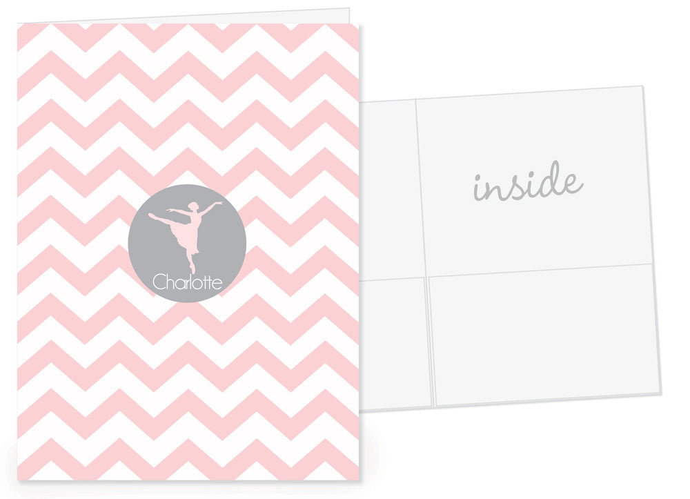 ballet chevron personalized pocket folder