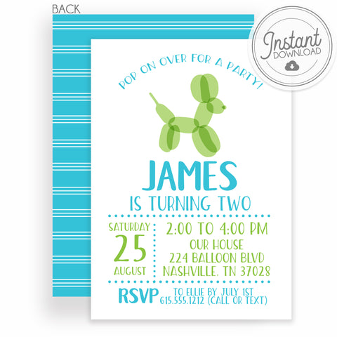 Balloon Animal Boy Birthday Invitation, DIY Editable Instant Download Templett, PIPSY.COM