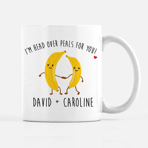 Banana Couples Mug, I'm head over PEALS for you, followed by the couple's names, PIPSY.COM