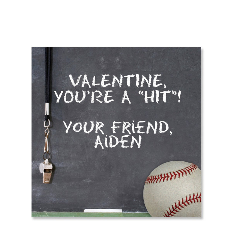 Baseball Chalkboard with whistle Valentine Sticker | Pipsy.com