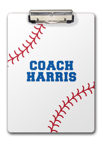 Baseball two sided clipboard with red stitching and blue name