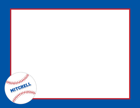 blue frame with baseball flat notecards