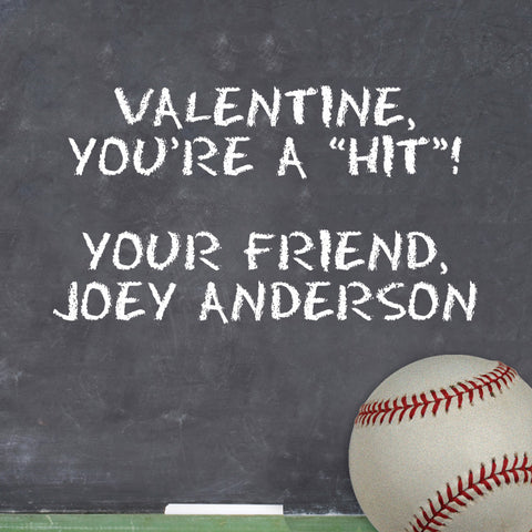Baseball Valentine's day gift sticker with blackboard