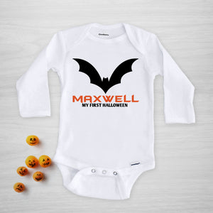 Personalized Bat Halloween Onesie, long sleeved