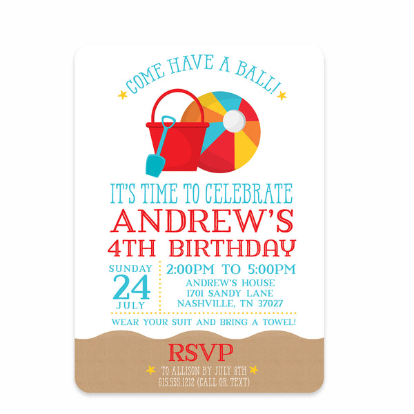 Beach Ball Birthday Invitations | Swanky Press (front view)