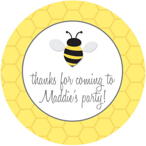 Bee with honeycomb favor sticker