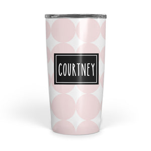 big polka dot double walled stainless steel coffee tumbler, PIPSY.COM