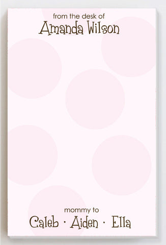 Big dots pink notepad