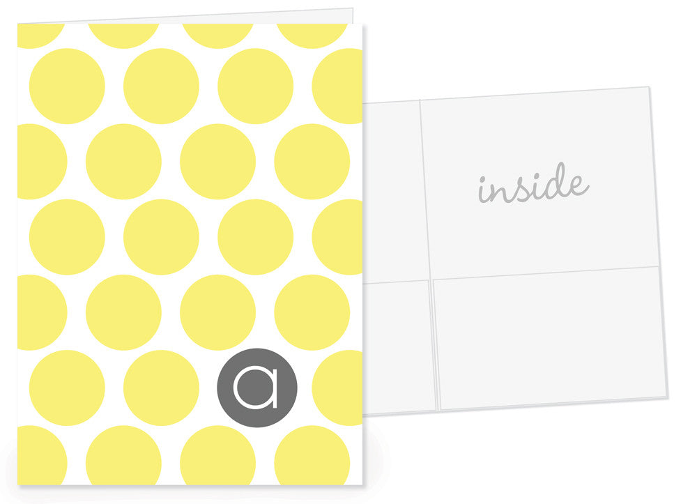 Big dotty in yellow with grey for the initial pocket folders