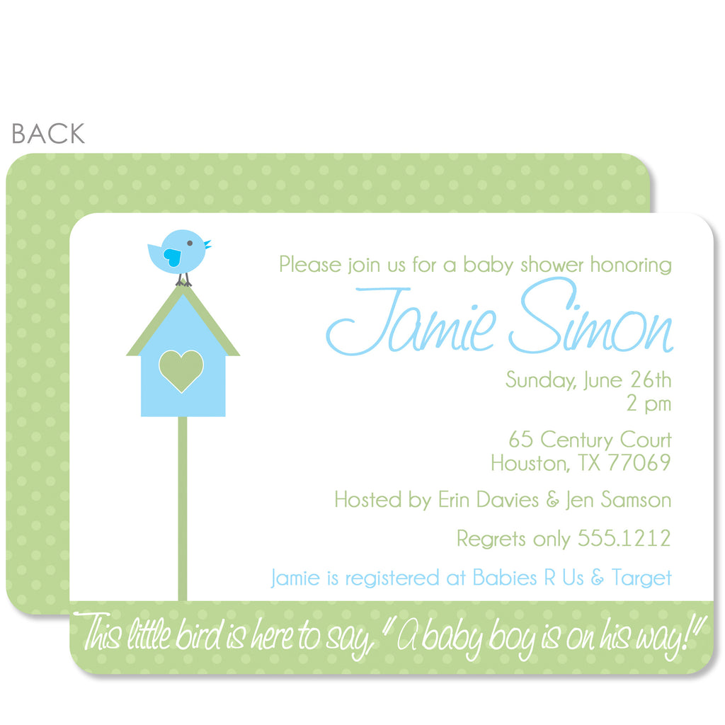 Birdhouse Baby Shower Invitation (Printed)