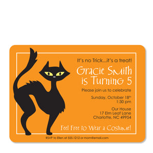 Black Cat Birthday Invitation | Swanky Press (front view)