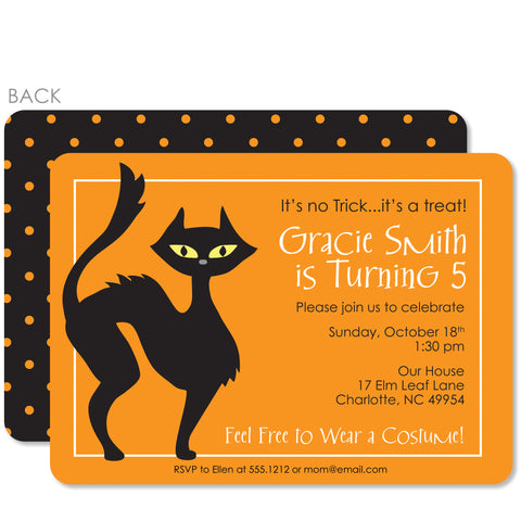 Black Cat Birthday Invitation | Swanky Press