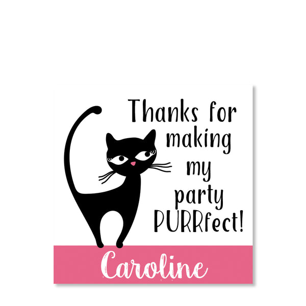 Cat Party Favor Tags | Swanky Press (front view)