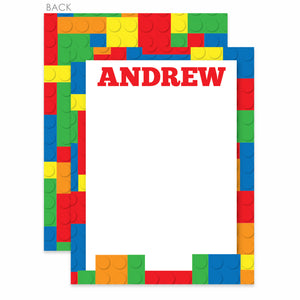 Building Block Party Flat Notecard | Swanky Press | Primary Colors