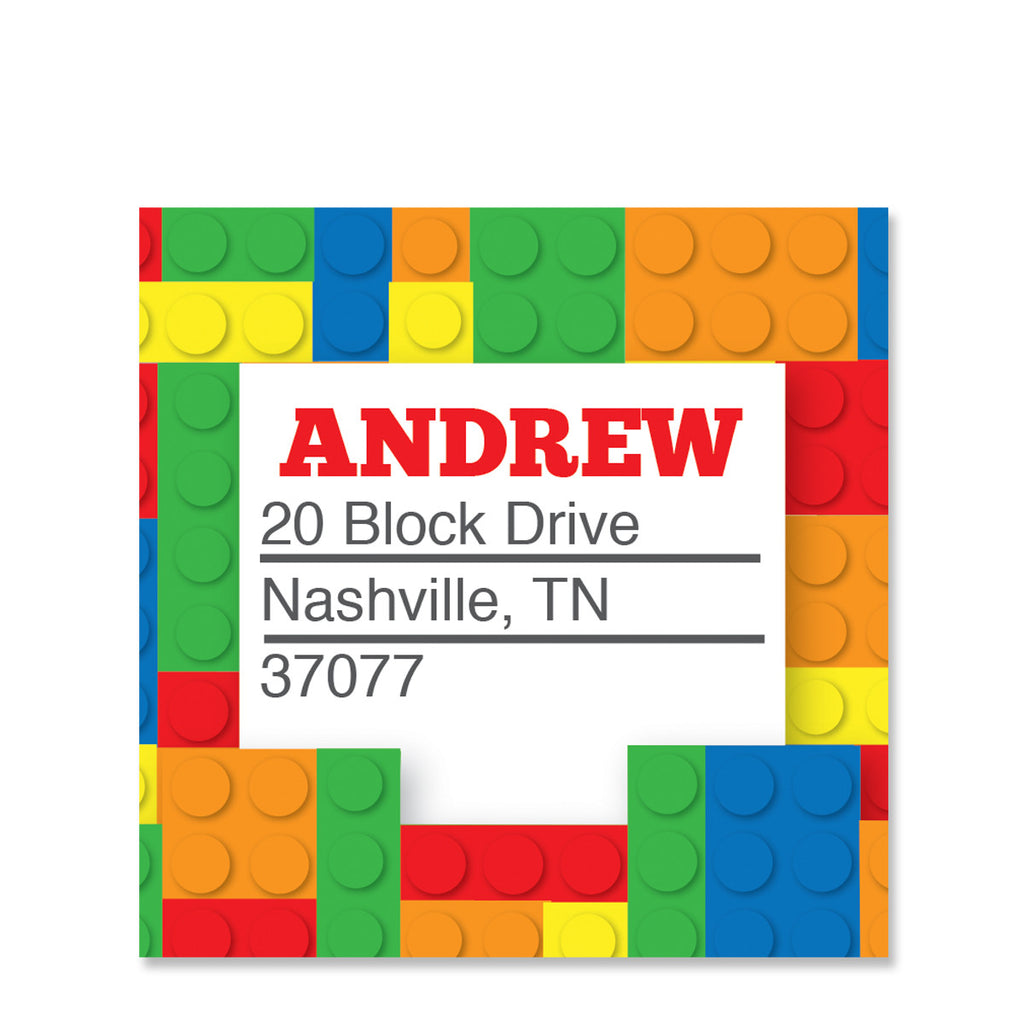 Building Block Party Return Address Sticker | Swanky Press | Square