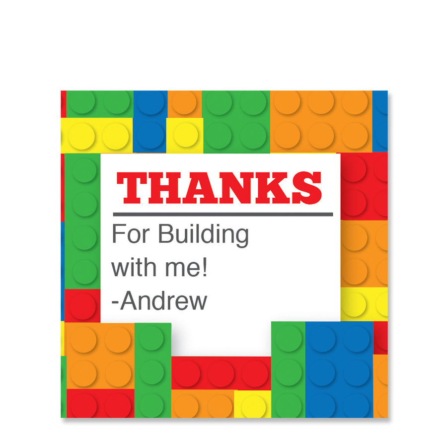 Building Block Party Favor Sticker | Swanky Press | Square