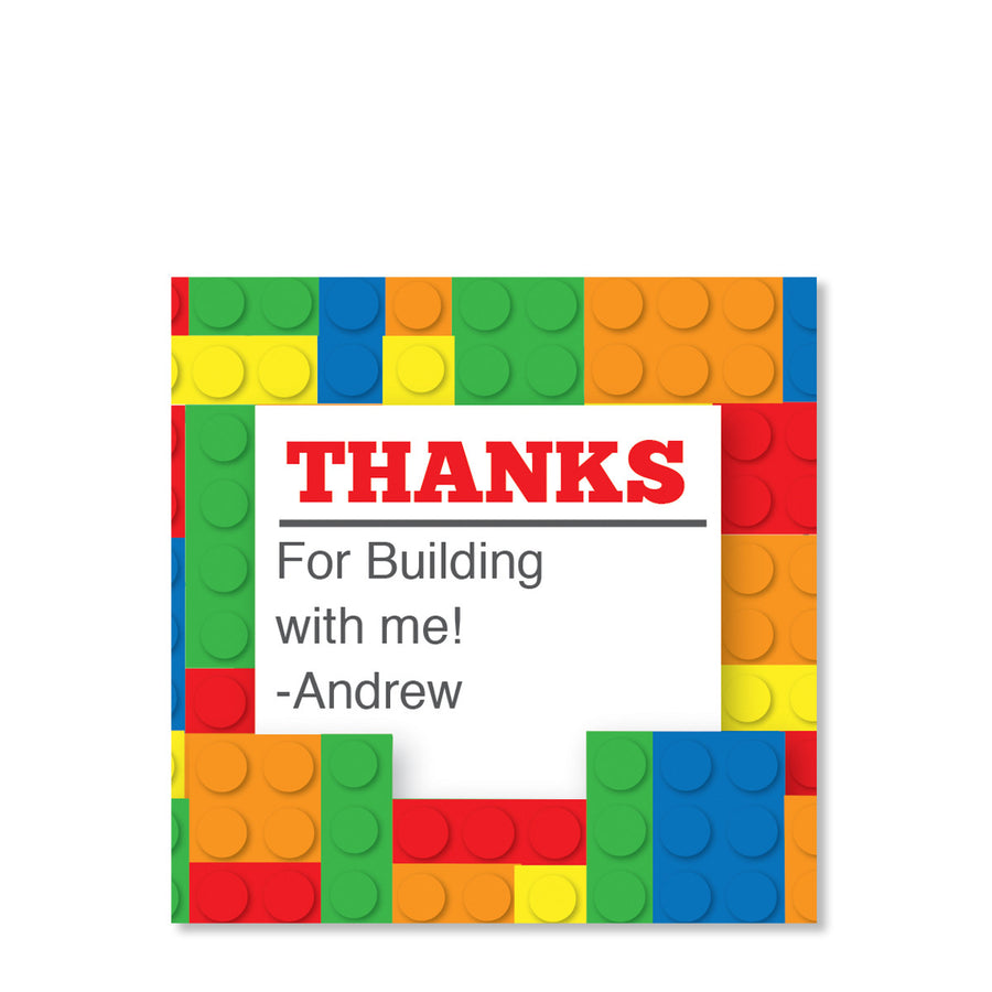 Building Block Party Cardstock Favor Tag | Swanky Press | Primary Colors