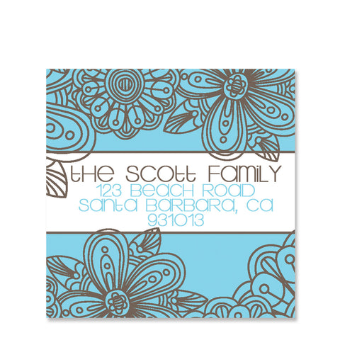 Blue Blossom Return Address Stickers