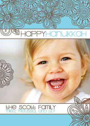 blue blossom hannukah photo cards